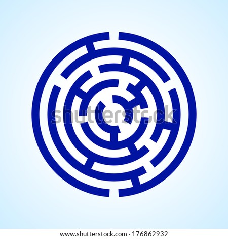 Illustration of round blue  labyrinth on light blue background - stock vector