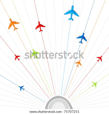 illustration of route showing flying of airplane in different destination - stock vector