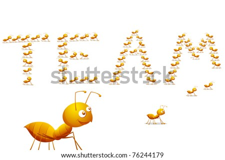illustration of row of ants forming word team on floor - stock vector