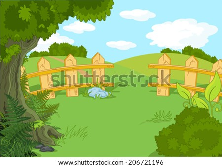 Illustration of rural idyllic landscape - stock vector