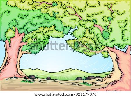 illustration of rural landscape vector hand draw, based ink on paper outline - stock vector