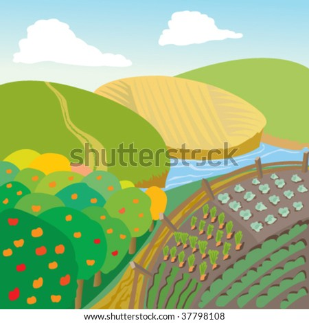 Illustration of rural landscape with apple trees - stock vector
