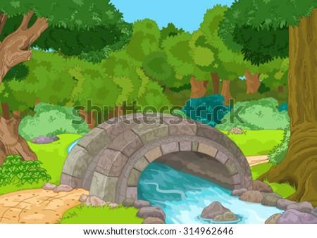 Illustration of rural landscape with stone bridge - stock vector