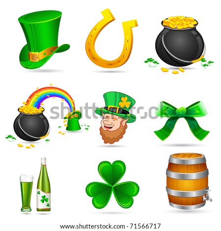 illustration of Saint Patrick's day elements on white background - stock vector