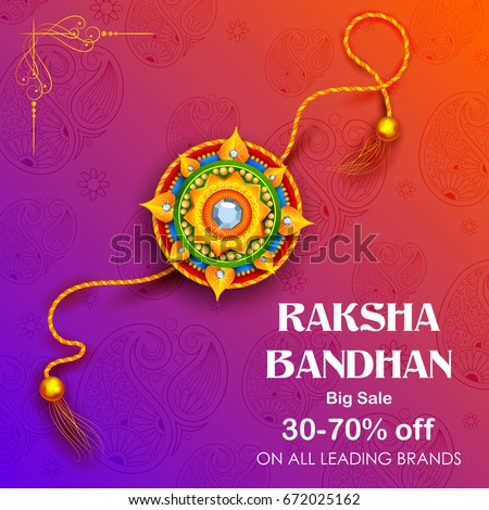 illustration of Sale and promotion banner poster with Decorative Rakhi for Raksha Bandhan, Indian festival of brother and sister bonding celebration