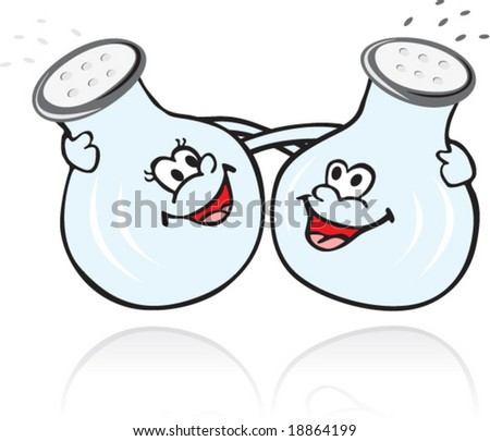Illustration of salt and pepper in cartoon style - stock vector