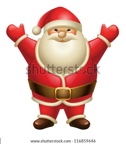 Illustration of Santa Claus isolated on white - stock vector