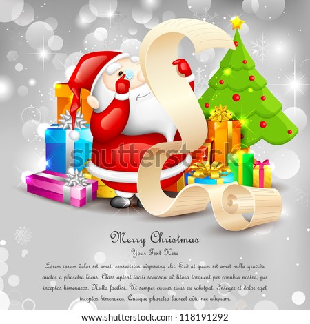 illustration of Santa Claus reading wish list for Christmas - stock vector