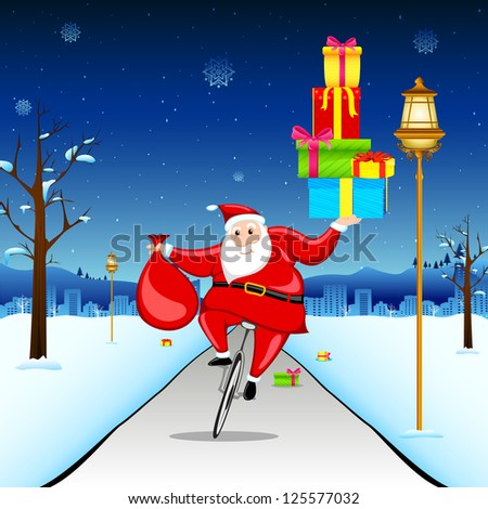 illustration of santa claus riding on bicycle with gift - stock vector