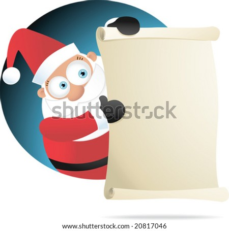 Illustration of Santa Holding Blank Paper - stock vector