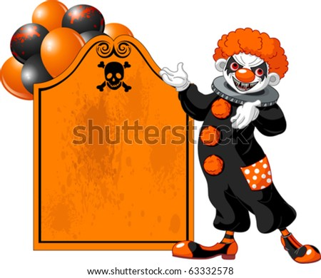 Illustration of Scary Halloween Clown (showing) - stock vector