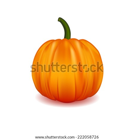 Illustration of  Scary Halloween pumpkin isolated on white. - stock vector