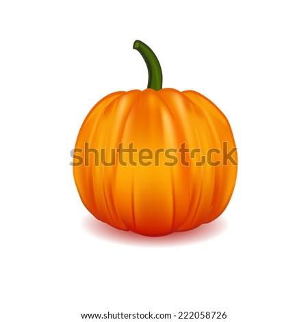 Illustration of  Scary Halloween pumpkin isolated on white. - stock vector