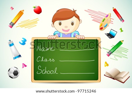illustration of school boy with chalkboard and education item - stock vector