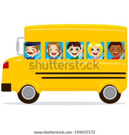 Illustration of school bus with cute happy kids and driver - stock vector