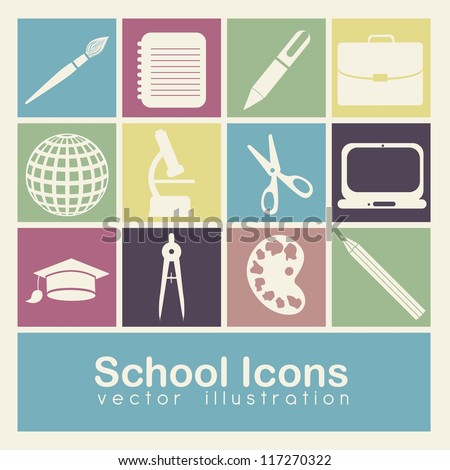 Illustration of school icons, student icons, back to class. vector illustration - stock vector