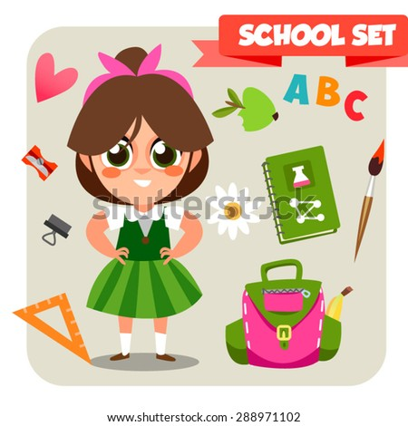 illustration of school kid playing in front of blank board. Back to school. Cute schoolchild. Illustration of School Kids in flat style. Cartoon characters.  School set of objects for study - stock vector