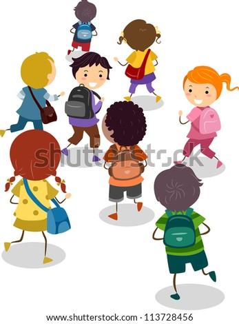 Illustration of School Kids on Their Way to School - stock vector