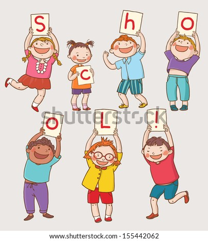 Illustration of School Kids Presenting Letters Back to School isolated objects on white background. Great illustration for a school books and more. VECTOR. Editorial. Education. Advertising. Board. - stock vector