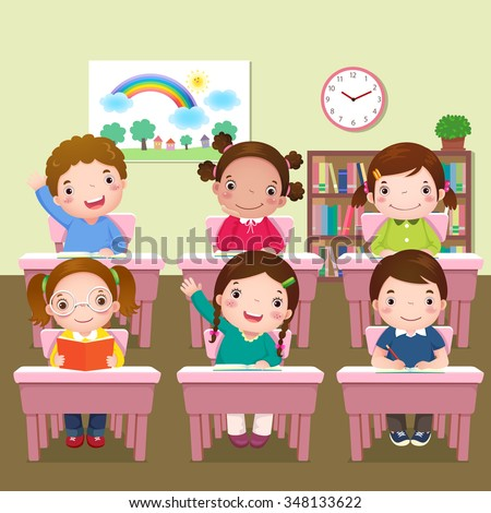 Illustration of school kids studying in classroom - stock vector