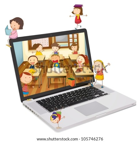 illustration of school students picture on a laptop - stock vector