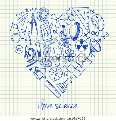Illustration of science doodles in heart shape - stock vector