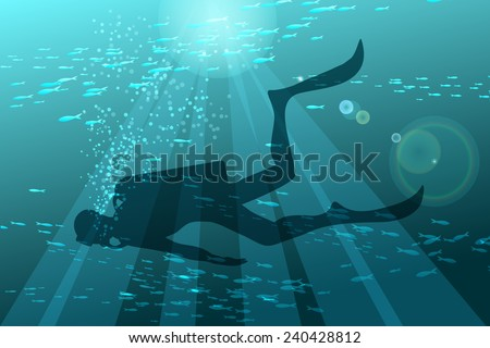 Illustration of scuba diver in deep sea against schools of fishes - stock vector