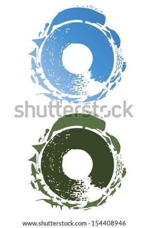 Illustration of sea animals swimming around grunge circle, vector - stock vector