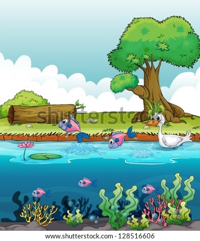Illustration of sea creatures with a duck - stock vector