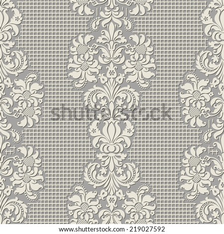 Illustration of seamless background pseudo lace in vintage style. Ornate damask background - stock vector