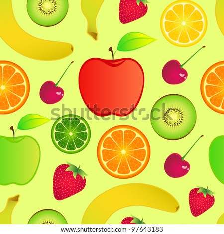 Illustration of seamless fruits background - stock vector