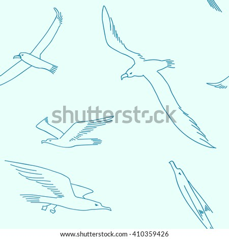 Illustration of  seamless pattern with a picture of a flying albatroses. Hand drawn background for cards, wedding elements, textile.