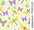 Illustration of seamless pattern with dragonflies and butterflies - stock vector