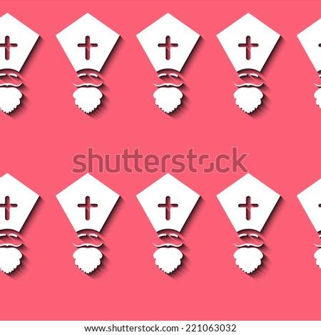 Illustration of seamless Sinterklaas on red background - stock vector