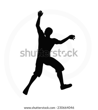 illustration of senior climber man silhouette isolated on  white background  - in climbing pose