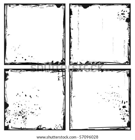 Illustration of set grunge frames. Vector - stock vector
