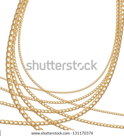 Illustration of set jewelry gold chains different size - vector eps10 - stock vector