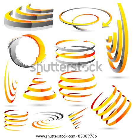 illustration of set of abstract icon for designing - stock vector