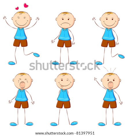 illustration of set of boy showing different expression - stock vector