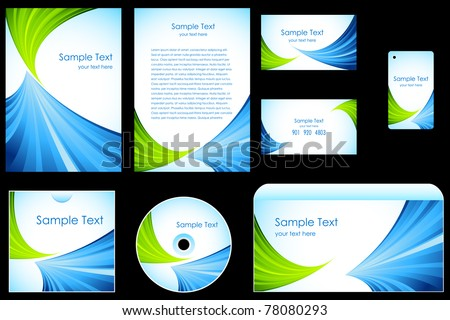 illustration of set of business template on black background - stock vector