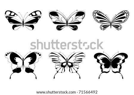 illustration of set of butterfly on white background - stock vector