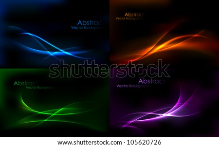 illustration of set of colorful abstract vector background - stock vector