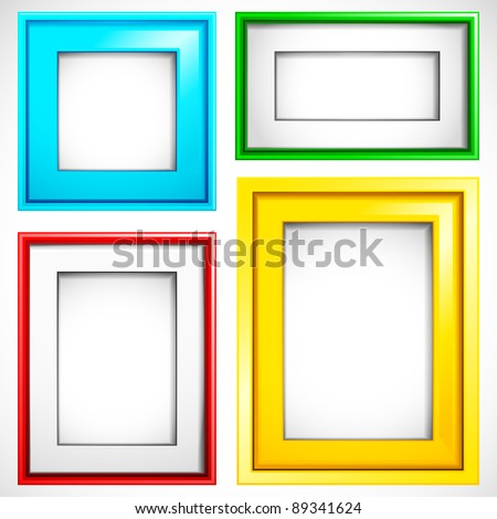 illustration of set of colorful empty frame in different shape - stock vector