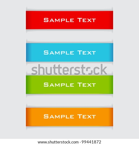 illustration of set of colorful paper banner - stock vector