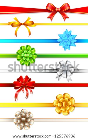 illustration of set of colorful ribbon with bow on white background - stock vector
