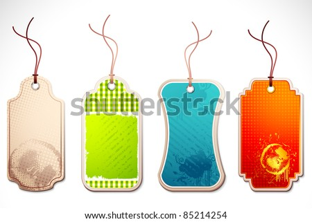 illustration of set of colorful tag with string on abstract background