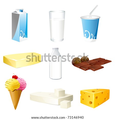 illustration of set of dairy products on isolated background - stock vector