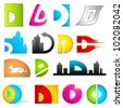 illustration of set of different colorful logo icon for alphabet D - stock photo