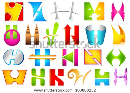 illustration of set of different colorful logo icon for alphabet H