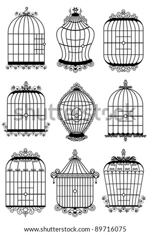 illustration of set of different style bird cage - stock vector